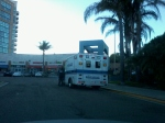 12/25/13 @ 402 pm- Private ambulance parked at destination- Starbucks UTC La Jolla, CA. Driver immediately enters vehicle and leaves.