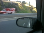 12/25/13 @ 413pm- Passed by red ambulance w/ lights and siren on. Driving South on Genessee Ave., La Jolla, CA.