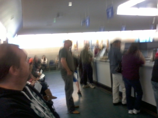 DMV male perp standing center,  4/01/14. Congrats, perp, this is your 15 minutes of fame!