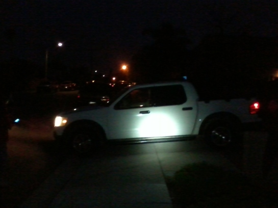 5/22/14 8:23 pm White truck blocking sidewalk, idling with no driver. Plates- CA 5XFL236.