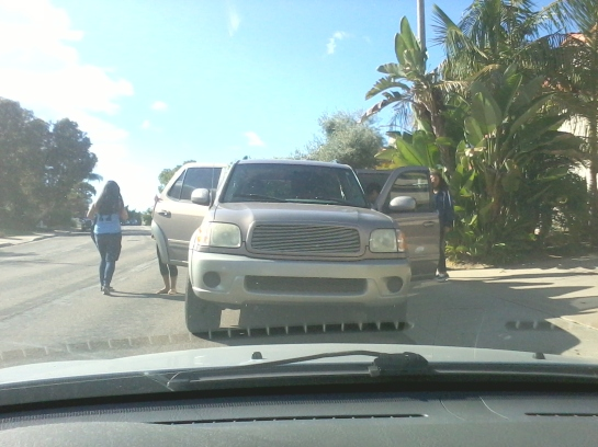 Gold SUV suddenly pulls up in front of my car and blocks a driveway, facing wrong direction for street parking.